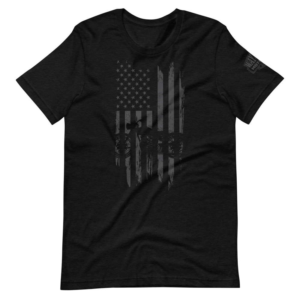 ghost black usa flag motorcycle t-shirt