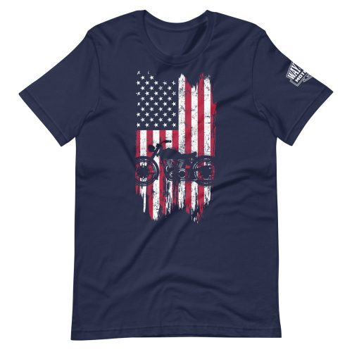 usa flag on navy motorcycle t-shirt